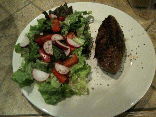 Ribeye and salad