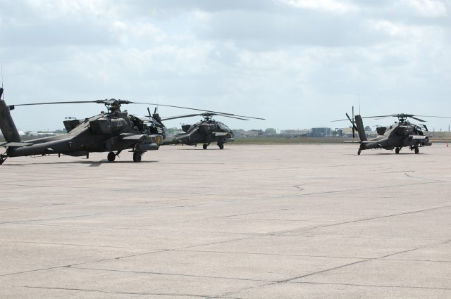 AH-64 Apaches on the ramp at Victoria